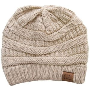 C.C Cable Knit Solid Beanie-HAT-20A_BEIGE